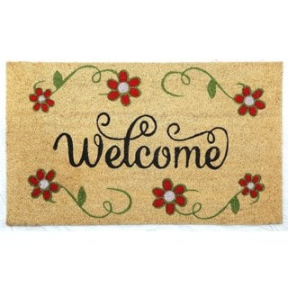 "Red Flower Coir Door Mat 17""x29"""