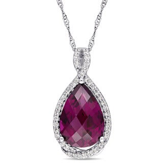 Miadora Signature Collection 14k White Gold Rhodolite and 1/5ct TDW Diamond Teardrop Halo Necklace (G-H, SI1-SI2)