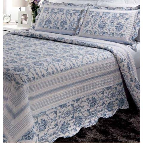 Patch Magic Blue Wisteria Lattice Bed Set