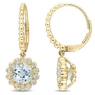 Miadora Signature Collection 10k Yellow Gold Sky-Blue Topaz and 1/3ct TDW Diamond Halo Leverback Earrings (G-H, I2-I3)