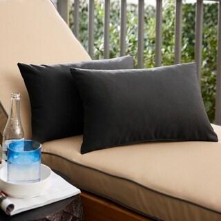 Shiel Sunbrella Black Indoor/ Outdoor 13 x 20 Inch Knife Edge Pillow Set
