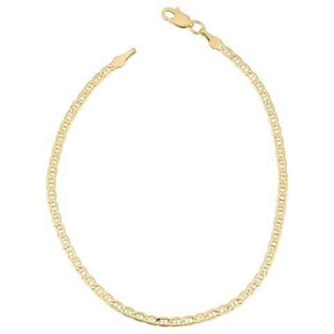 Fremada 18k Yellow Gold 2.4-mm Semi Solid Mariner Link Bracelet (7.5 inches)