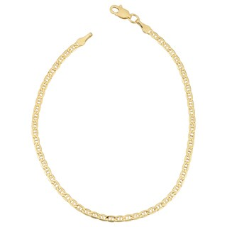 Fremada 18k Yellow Gold 2.4-mm Semi Solid Mariner Link Bracelet (7.5 inches)