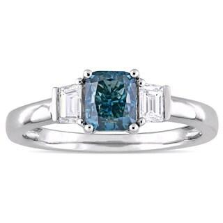 Miadora Signature Collection 14k White Gold 1 3/8ct TDW Light Blue and White Diamond Three-Stone Engagement Ring (D-E, V-S)