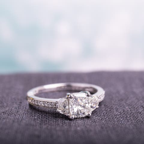 Miadora Signature Collection 14k White Gold 1 3/8ct TDW Cushion Round and Half Moon-Cut Diamond Engagement Ring (H-I,SI1-SI2)