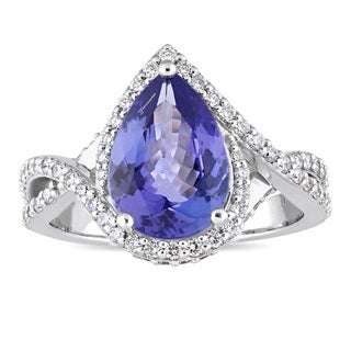 Miadora Signature Collection 14k White Gold Pear-Cut Tanzanite and 5/8ct TDW Diamond Crossover Ring (G-H, SI1-SI2)