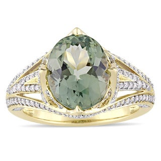 Miadora Signature Collection 14k Yellow Gold Oval-Cut Natural Apetite and 3/5ct TDW Diamond Engageme