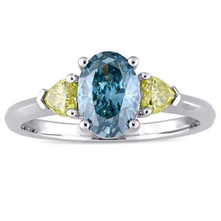 Miadora Signature Collection 14k White Gold 1 3/4ct TDW Sky-Blue and White Three-Stone Engagement Ri