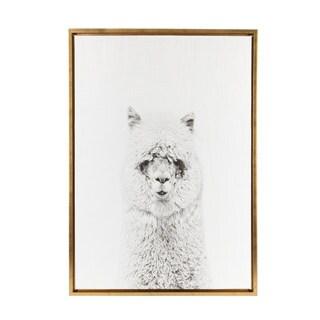 DesignOvation Simon Te Tai 'Sylvie Hairy Alpaca Black and White Portrait' Gold Framed Canvas Wall Art