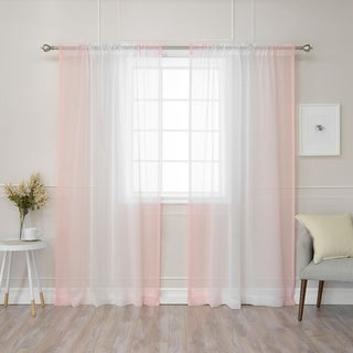 Aurora Home Ombre Border Faux Linen Curtain Panel (Pair) - 50 x 84