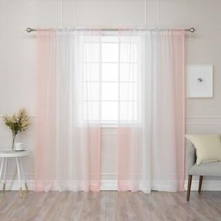 Aurora Home Ombre Border Faux Linen Curtain Panel (Pair) - 50 x 84