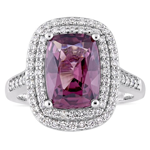 Miadora Signature Collection 14k White Gold Cushion-Cut Spinel and 1ct TDW Diamond Double Halo Ring