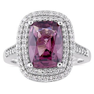 Miadora Signature Collection 14k White Gold Cushion-Cut Spinel and 1ct TDW Diamond Double Halo Ring (G-H, SI1-SI2)