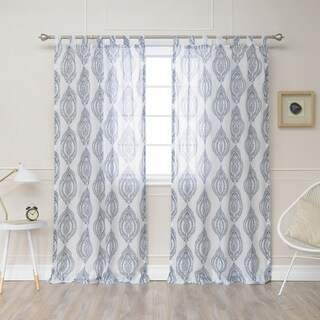 Aurora Home Medallion Print Faux Linen Curtain Panel (Pair)