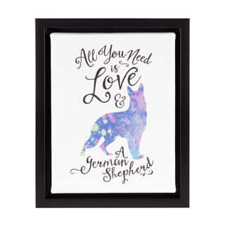 DesignOvation Sylvie 'All You Need is Love and a German Shepherd' Watercolor Print Dog Art Framed Canvas