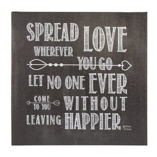 DesignOvation Spread Love Wherever You Go 14-inch x 14-inch Inspirational Quote Canvas Art
