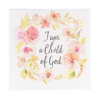 DesignOvation 'I Am a Child of God' Watercolor Inspirational Quote Canvas Art