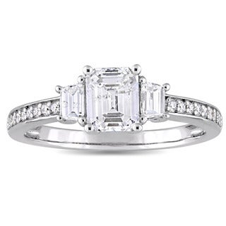 Miadora Signature Collection 14k White Gold 1 1/3ct TDW Emerald and Trapezoid-Cut Diamond Engagement Ring (D-E, SI1-SI2)
