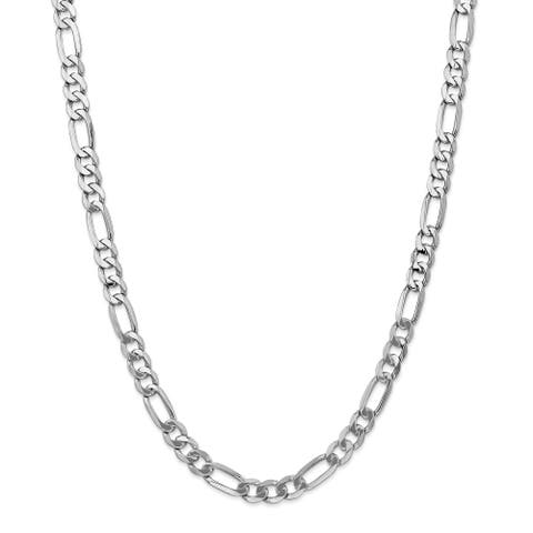Versil 14 Karat White Gold 7mm Figaro Chain