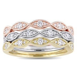 Miadora Signature Collection 3-Tone 14k White Yellow and Rose Gold 1/2ct TDW Diamond 3-Piece Ring Set (G-H, SI1-SI2)