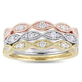 Miadora Signature Collection 3-Tone 14k White Yellow and Rose Gold 1/2ct TDW Diamond 3-Piece Ring Se