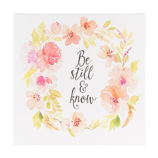 DesignOvation 'Be Still and Know' 14-inch x 14-inch Watercolor Inspirational Quote Canvas Art