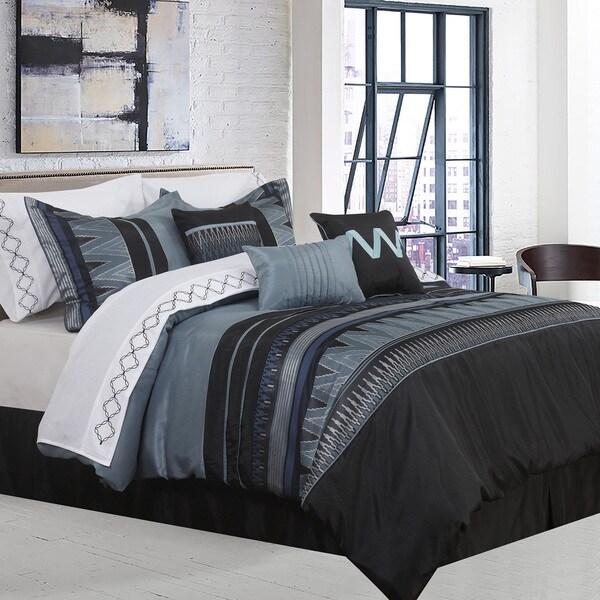 Vanguard 7-piece Grey and Black Comforter Set