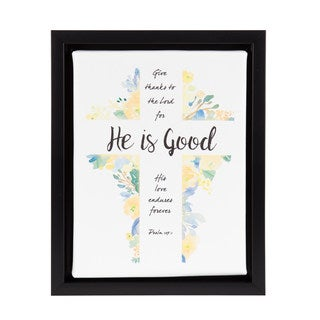 DesignOvation 'He is Good' Watercolor Inspirational Framed Canvas Art