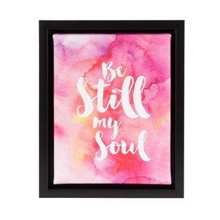 DesignOvation Sylvie 'Be Still My Soul' Watercolor 8-inch x 10-inch Inspirational Canvas Art With Black Frame