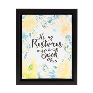DesignOvation Sylvie 'He Restores My Soul' Black 8-inch x 10-inch Framed Canvas Watercolor Floral Inspirational Art