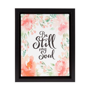 DesignOvation Sylvie Be Still My Soul 8x10 Watercolor Floral Framed Canvas