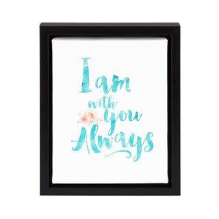 DesignOvation Sylvie Always With You Watercolor Black Frame Inspirational Framed Canvas 8x10 Wall Art