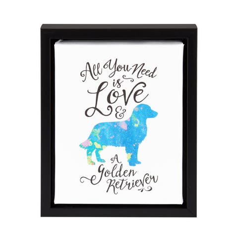 DesignOvation Sylvie All You Need is Love and a Golden Retriever Watercolo Dog Print Framed Canvas Art