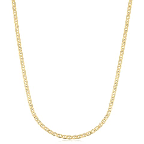 18k Yellow Gold 2.4-mm Semi Solid Mariner Link Chain Necklace (18 inches)