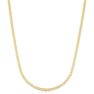 18k Yellow Gold 2 4 Mm Semi Solid Mariner Link Chain Necklace 18 Inches