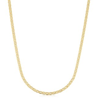 Fremada 18k Yellow Gold 2.4-mm Semi Solid Mariner Link Chain Necklace (18 inches)