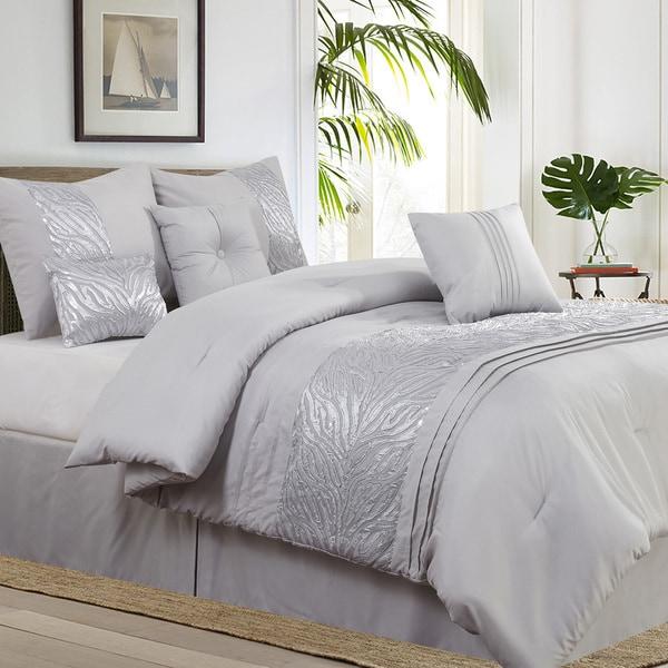 Avanti 7-piece Metallic Embroidered Grey Comforter Set