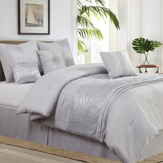 Avanti 7-piece Metallic Embroidered Grey Comforter Set
