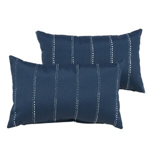 Caldwell III Navy Dotted Stripes Indoor/ Outdoor 13 x 20 Inch Knife Edge Pillow Set