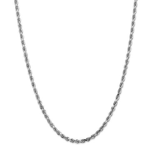 14K White Gold 4mm Polished and Diamond Cut Quadruple Rope Chain by Versil