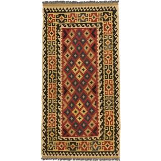 ecarpetgallery Hand Woven Kashkoli Kilim Blue, Red  Wool Kilim (3'3 x 6'5)