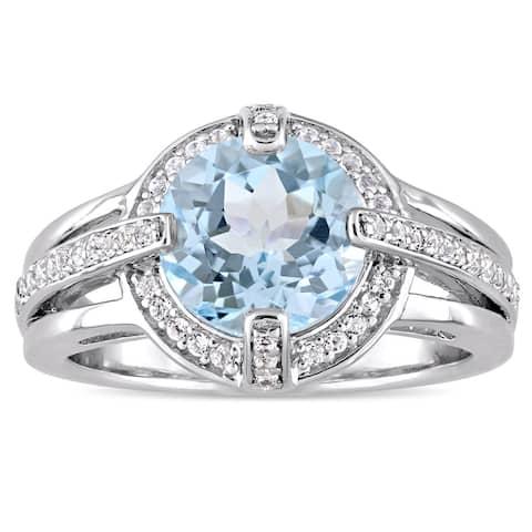 Miadora Sterling Silver Sky-Blue Topaz and White Topaz Halo Cocktail Ring - Blue