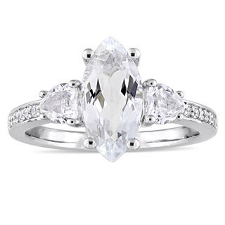 Miadora Sterling Silver White Topaz and 1/10ct TDW Diamond Engagement Ring