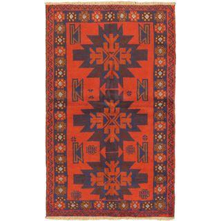 ecarpetgallery Hand Knotted Kazak Red Wool Rug (3'5 x 5'10)