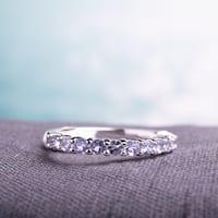 Miadora Sterling Silver Amethyst Anniversary Semi-Eternity Ring