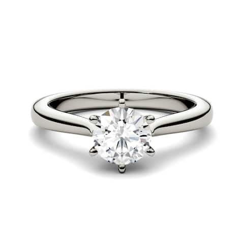 Charles & Colvard 14k White Gold 1ct DEW Forever One Round Colorless Moissanite Solitaire Ring