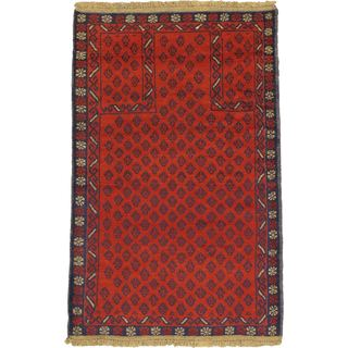 ecarpetgallery Hand Knotted Herati Red  Wool Rug (2'9 x 4'4)