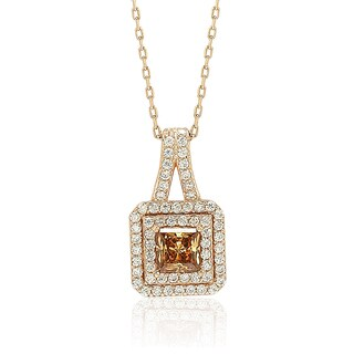 Suzy Levian Rosed Sterling Silver Asscher-Cut Cubic Zirconia Halo Pendant
