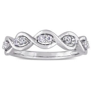 Miadora Signature Collection 14k White Gold White Sapphire Stackable Infinity Anniversary Ring