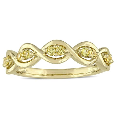 Miadora Signature Collection 14k Yellow Gold Yellow Sapphire Stackable Infinity Anniversary Ring